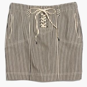 Madewell Lace-Up Skirt on Ticking Stripe. NWT